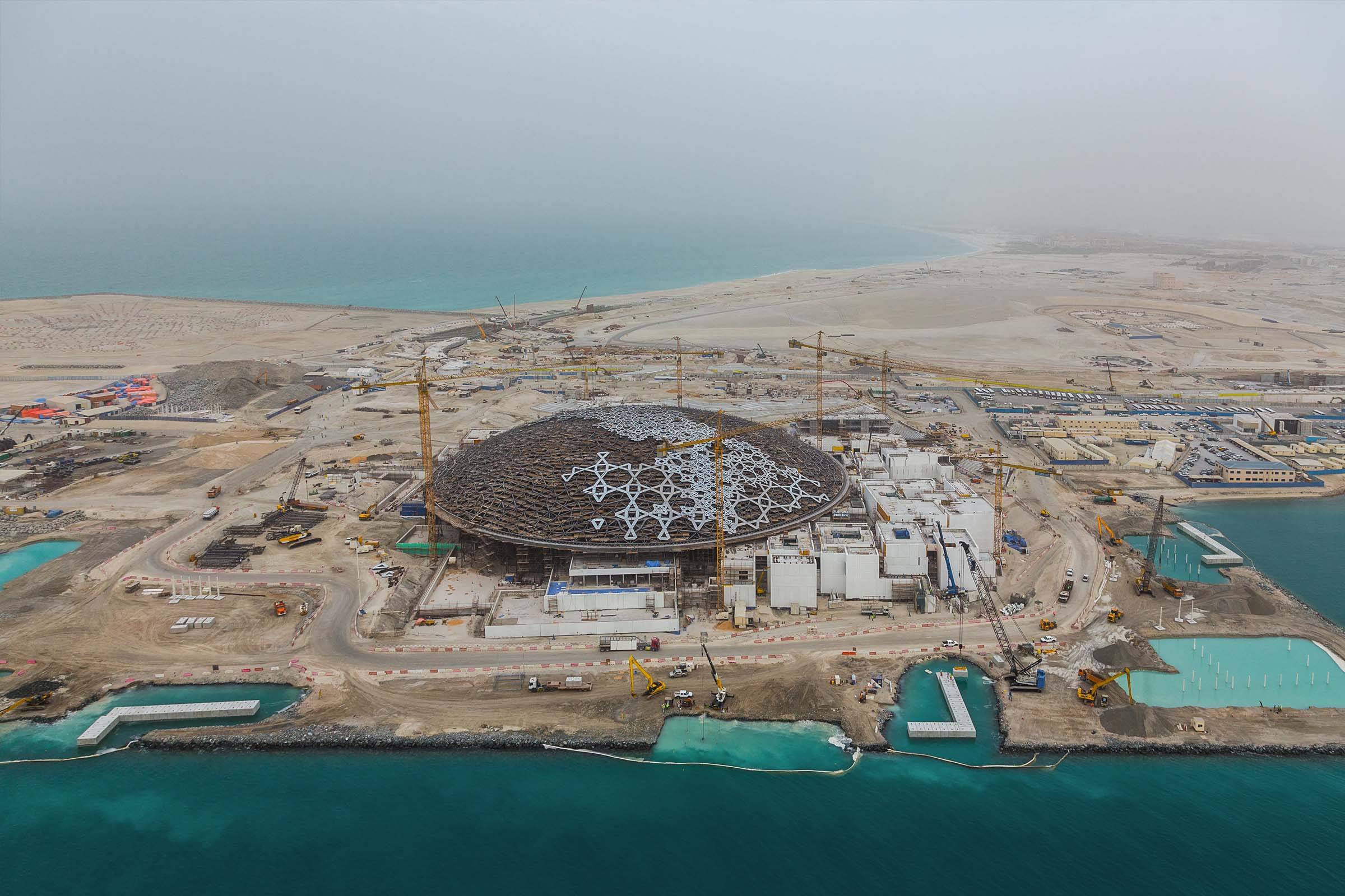 Aerial view of Louvre Abu Dhabi, construction, Architect Jean Nouvel